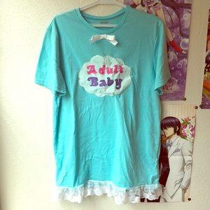 Handmade Adult Baby Blue T-shirt Dress